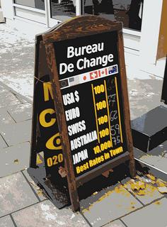Pancarte d'un bureau de change