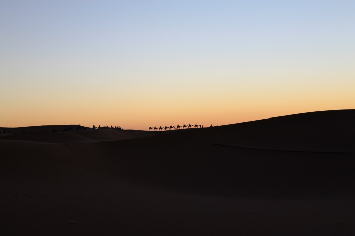 Une méharée à la tombée de la nuit au Maroc - Blog Voyage ...