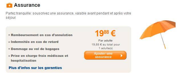 Assurance proposée par Easyjet