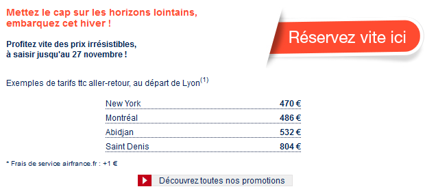 Promotions Air France