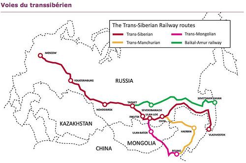 La carte du Transsibérien