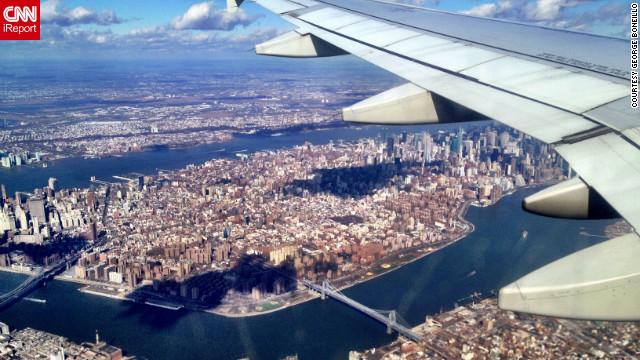 Vue sur New York depuis l'avion