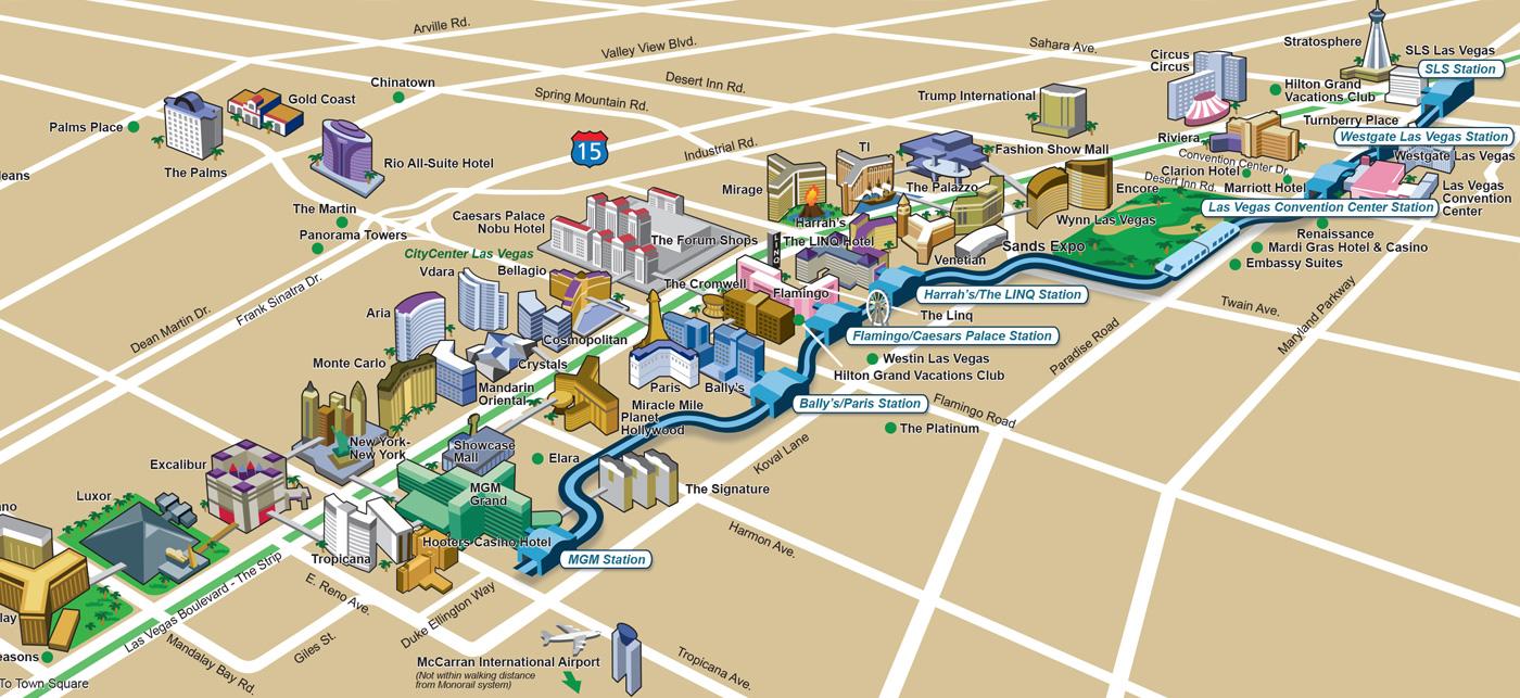 Plan de Las Vegas (casinos, hôtels, monuments)