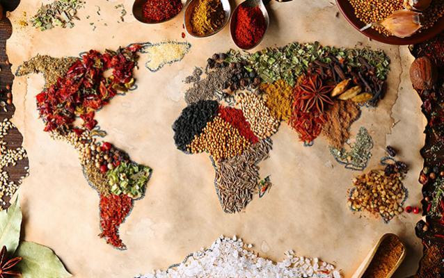 Carte du monde à base d'épices