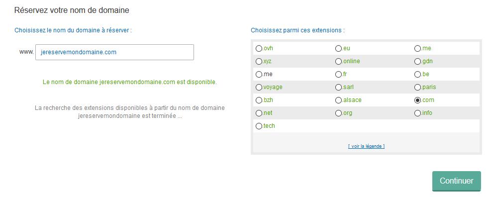 Réservation d'un nom de domaine avec OVH