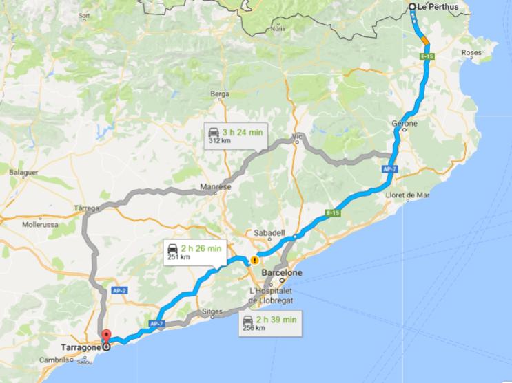 Trajet Google Maps pour Tarragone