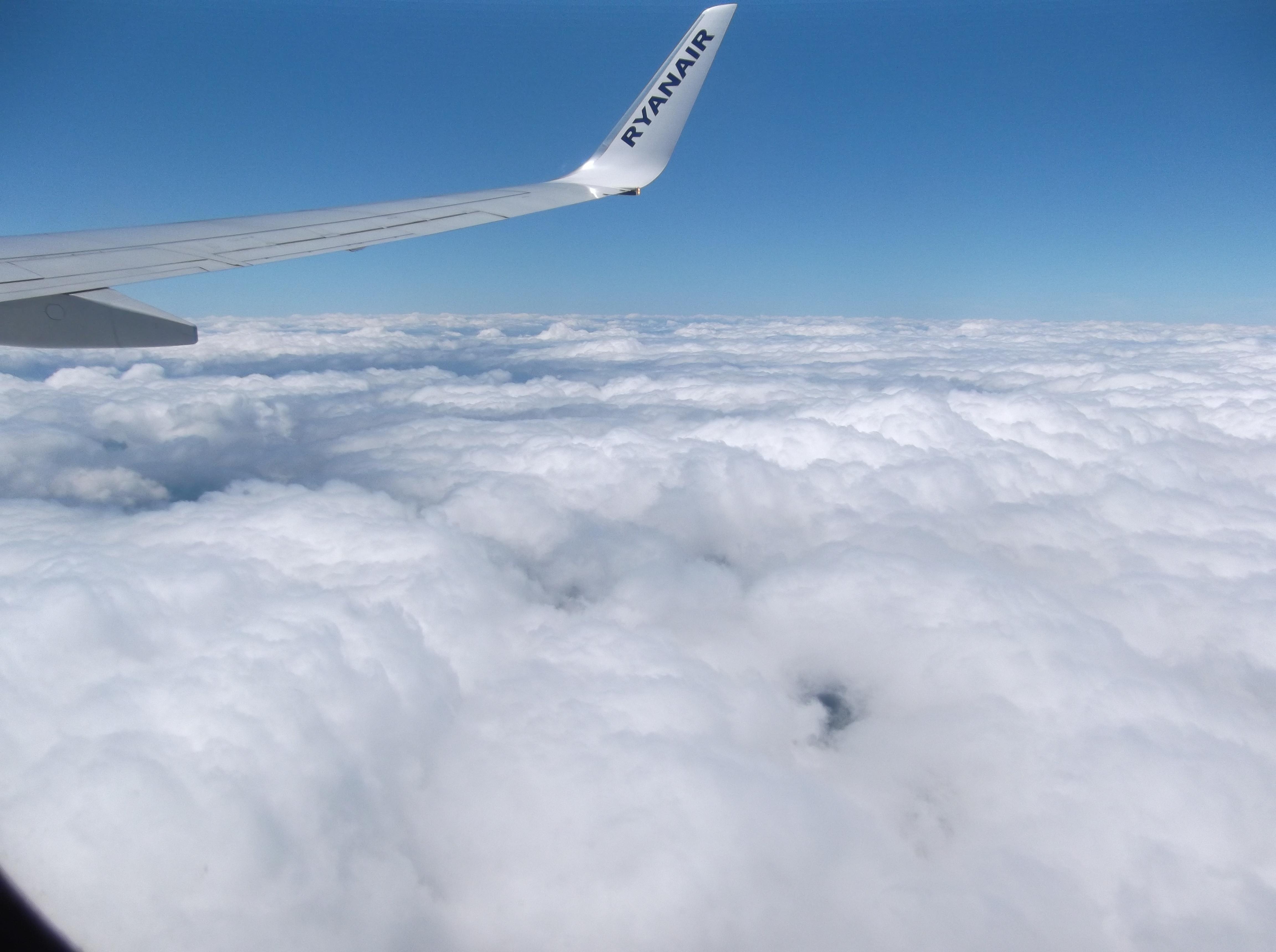Vue depuis l'avion avec Ryanair