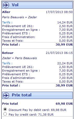 Vol Paris Zadar avec Ryanair