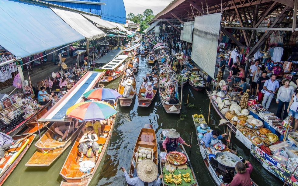 Le marché flottant de Bangkok