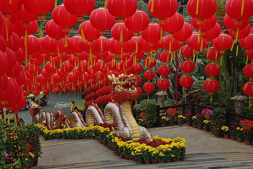 Lanternes dans un parc à Shenzhen