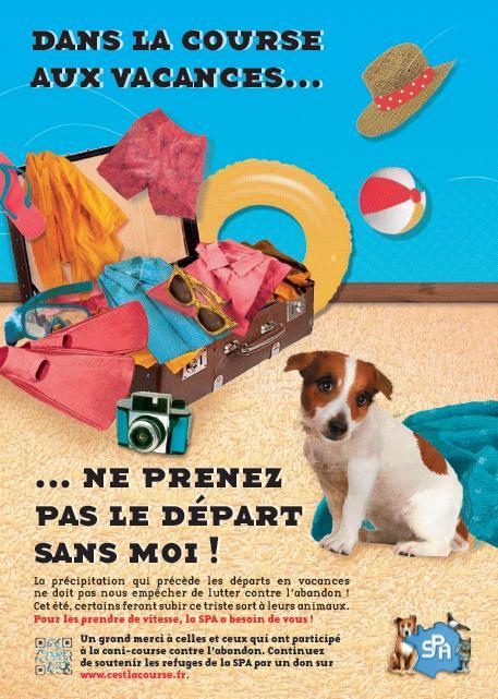 Affiche de la SPA pour la garde des animaux pendant les vacances