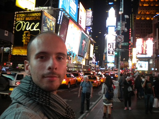 Jérémy (Roadcalls) à Time Square à New York