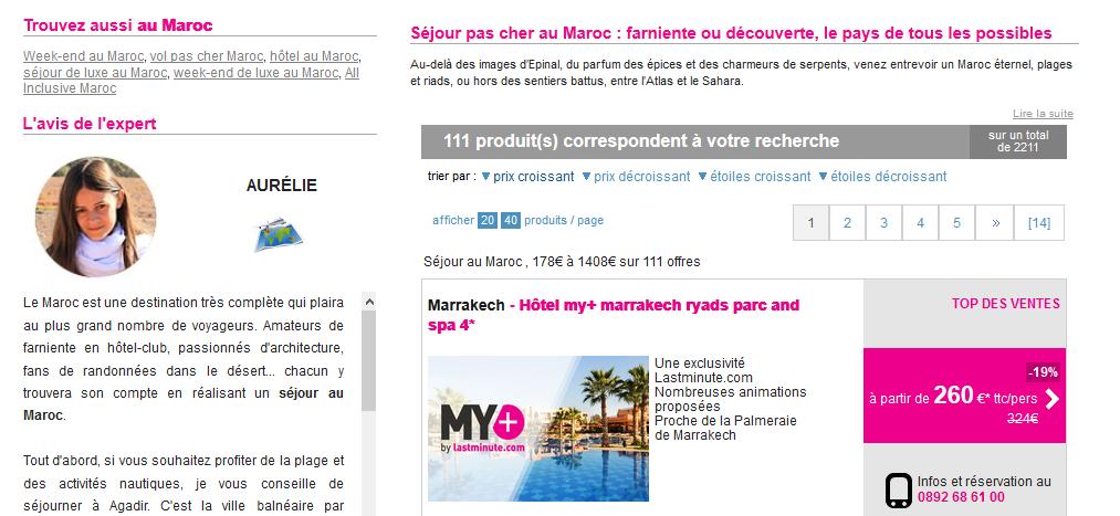 "Ma description de la destination ""Maroc"" sur lastminute.com"