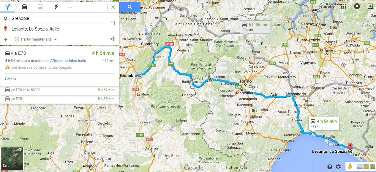Itinéraire pour aller à Levanto en Italie © Google Maps