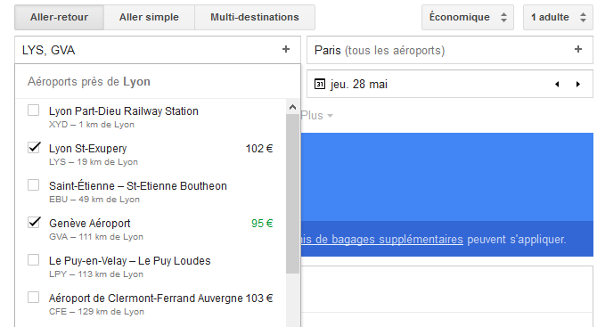 Comparateur de vol Google Flights