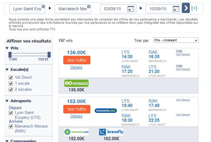 Exemple de vol Lyon Marrakech avec le comparateur de vol