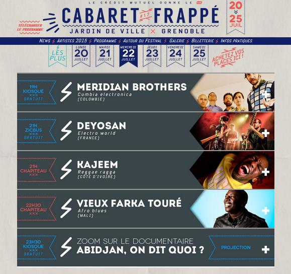 Programme Cabaret Frappé 22 Juillet 2015