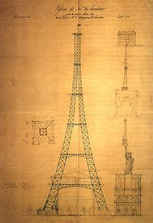 Premier croquis du pylône de 300 mètres © wikipedia.org