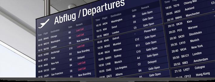 Tableau d'affichage à l'aéroport
