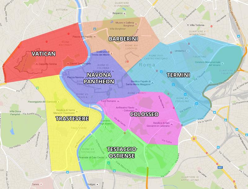 Les principaux quartiers où dormir à Rome