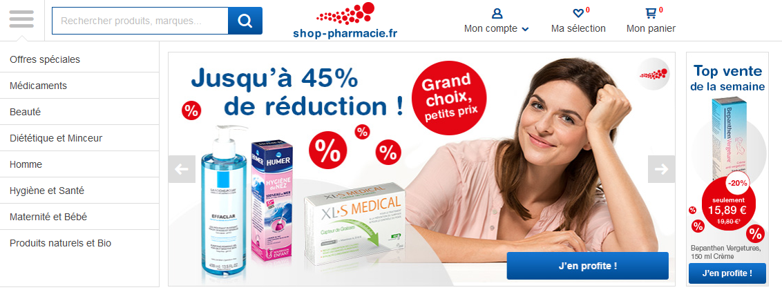 Le site Shop Pharmacie
