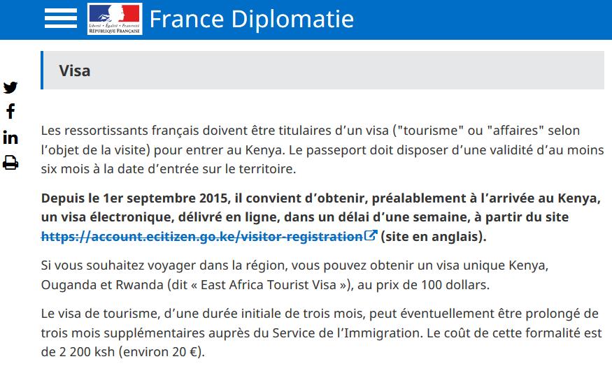 Renseignements sur le site diplomatie gouv