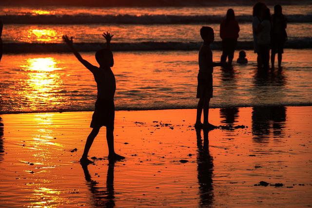 Coucher de soleil sur la plage de Kuta