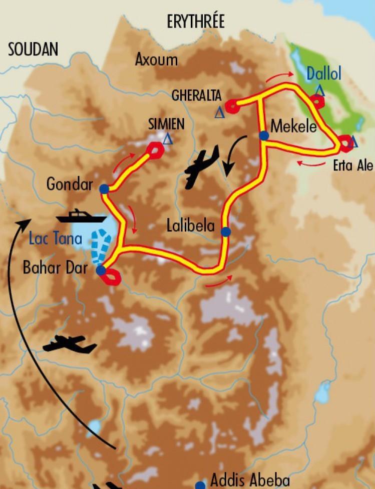 Circuit vers le Danakil proposé par Michel