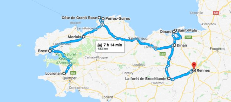 Itinéraire jour 4 à jour 7 en Bretagne